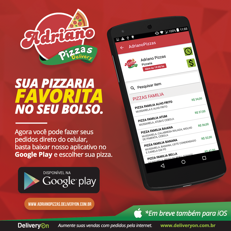 Chegou o novo aplicativo do Adriano Pizzas